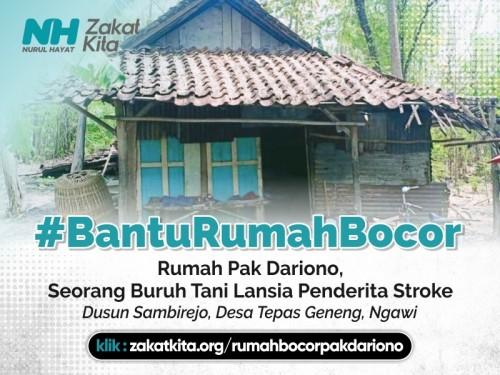 Bantu Rumah Bocor Pak Dariono, Lansia Penderita Stroke